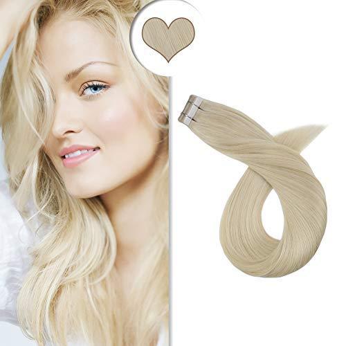 【Befristete Promotions】Ugeat Extensions Echthaar Tape Platinblond #60 Voller Kopf 100g/40pcs 20 Zoll Seamless Skin Weft Human Hair Blond Tape in Extensions