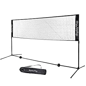 Display4top Tennisnetz 5m Verstellbares, faltbares, tragbares BadmintonNetz für Tennis, Pickleball, Kinder-Volleyball – Einfaches Aufbau-Nylon-Sportnetz mit Stäben (5m)