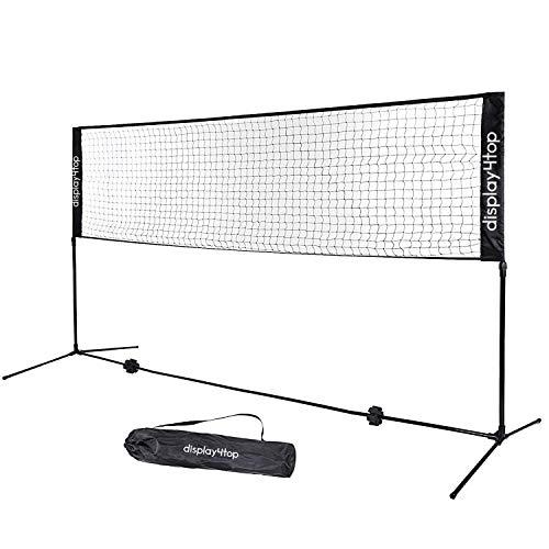 Display4top Tennisnetz 5m Verstellbares, faltbares, tragbares BadmintonNetz für Tennis, Pickleball, Kinder-Volleyball - Einfaches Aufbau-Nylon-Sportnetz mit Stäben - Für Innen- und Außenbereiche, Strand, Auffahrt