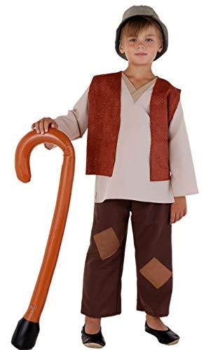 Kostüm Kind Schäfer - Magicoo Deluxe Hirten Kostüm Krippenspiel Kinder braun-beige mit Weste in 3 Farben - Schäfer Kostüm Kinder Jungen (braun, 128)