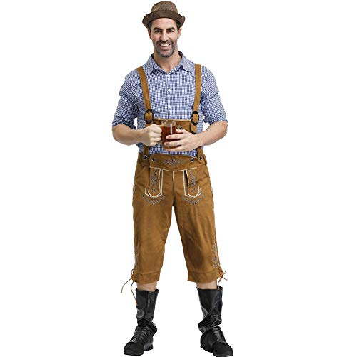 Deutsch Oktoberfest Herren Bier Uniformen Bayerische Trachten Trachten Plaid Shirts Hosenträger Anzüge Halloween Kostüme,Containscaps,XL