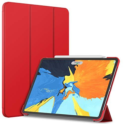 JETech Funda iPad Pro 11 Pulgadas (Pantalla de Retina Líquida de Borde a Borde de Lanzado en 2018), Compatible con Apple Pencil, Smart Cover Auto-Sueño/Estela (Rojo)