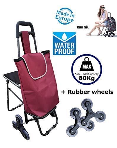 TAVALAX Tris Floral Einkaufstrolley & Treppensteiger - Einkaufswagen - Einkaufsroller (Modern Purple)
