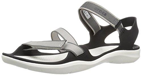 94df550321a53f Crocs Women s Swiftwater Webbing Textile Hook   Loop Sandal Pearl  White-White-6 Size