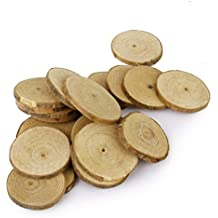 OULII Registro de madera rodajas de discos para BRICOLAJE manualidades boda centros de mesa boda favores, Pack de 40, 5-6CM