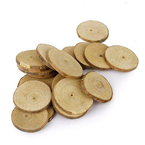 LUOEM 40 Stücke Holzscheiben Rund 5-6 CM Holz Log Scheiben für DIY Handwerk Hochzeit Mittelstücke