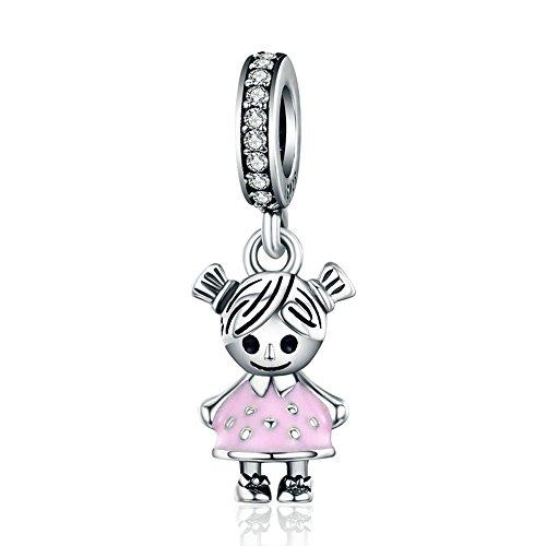 LILIMO Netter Junge Mädchen S925 Sterling Silber Schwarz Eye Fashion Charm Bead DIY Fit Schlange Armband Armband Zubehör,Pink