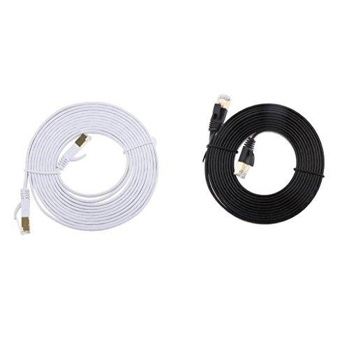 H HILABEE 2 Stücke CAT7 Vergoldet SSTP 10 Gbps RJ45 LAN Ethernet Netzwerk Patchkabel 10ft -