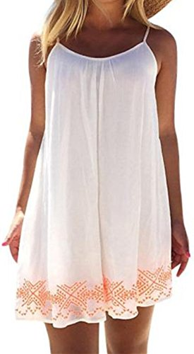 Donna Abito Familizo Abito Women Backless Short BOHO Summer Beach Evening Party Mini Dress Sundress (size:M, Bianca)