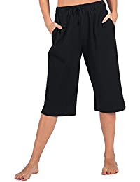 82fd7aee9d WEWINK CUKOO 100% Cotton Women Casual Capri Pants Lounge Pants with Pockets
