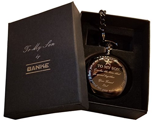 BANKE Pocket Watch and #34;To My Son, From Dad and #34; with Chain and Keepsake Box