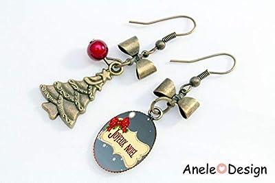 Boucles d'oreilles Noël, cadeaux Noël, Joyeux Noël, sapin Noël, cabochon bijou, nœud rouge, bijou Noël