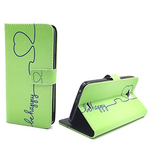 König-Shop Handy-Hülle Schutz-Tasche Wiko Slide Smartphone Klapphülle Be Happy Design Grün