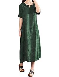 386cf99dd71 Weant Femme Robe Été Femme de Plage Rétro Robes Lin Robes au Genou Maxi Robe  sans Manches Manches Courte Unie Floral Imprimé Casual…