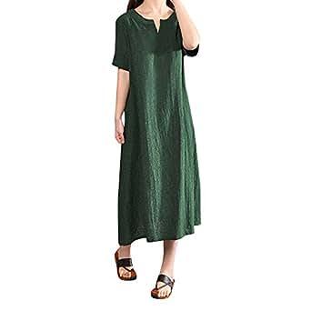6094b34c7ee384 Bild nicht verfügbar. Keine Abbildung vorhanden für. Farbe: VEMOW Heißer  Elegante Damen Frauen Plus Größe Baumwolle Leinenkleid Böhmen Casual Solide  ...