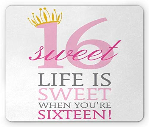 WYICPLO Sweet 16 Mouse Pad, Pinky Tone Life is Sweet When You Are Sixteen Message with Little Princess Crown, Standard Size Rectangle Non-Slip Rubber Mousepad, Multicolor