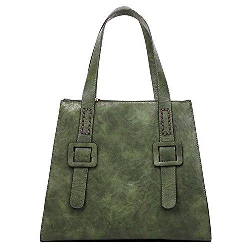 Crossbody Tasche Schulertasche Modern Handtasche Tote Bag Damentasche Shopper Urlaub Arbeit (Grau) Grün
