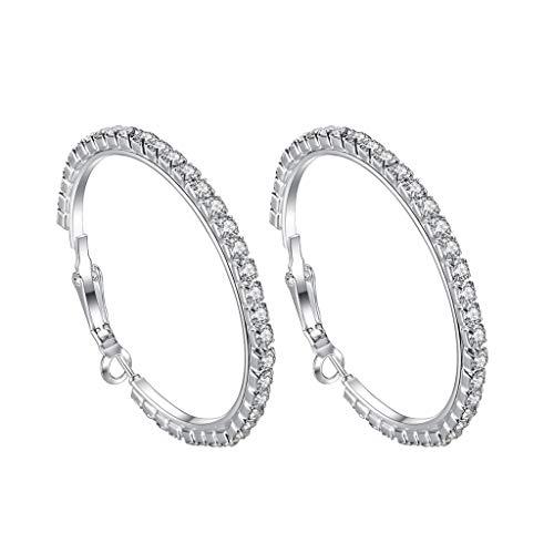 LABIUO Damen Ohrringe, Klassische Luxus Voller Diamant Runde Große Ohrringe Schmuck Geschenke für Freundin/Frau/Mutter/Tochter(C,Einheitsgröße)