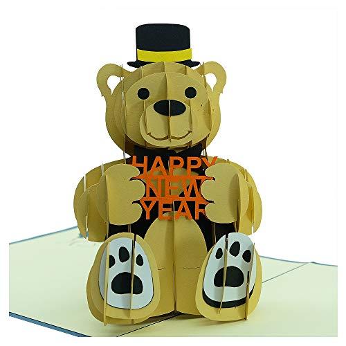 Biglietto di anniversario – texudo bear, biglietto 3d, biglietto popup, biglietto di auguri, ottimo regalo per il grande capodanno. (navy, 15,2 x 15,2 cm)