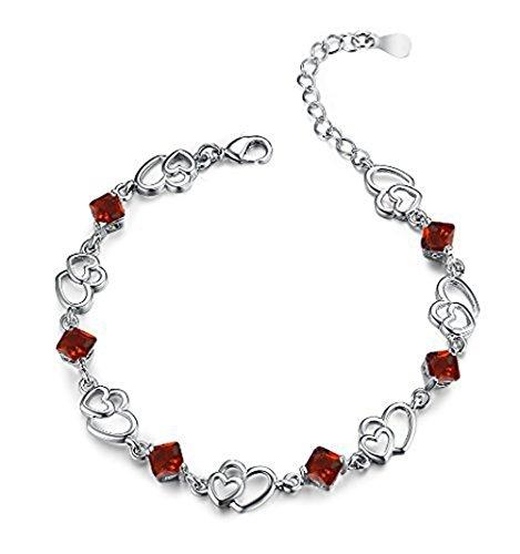 findout Amethyst rot, rosa, blau, weiß-Kristallherz-Silber-Armband für Frauen Mädchen. (roten Kristall)
