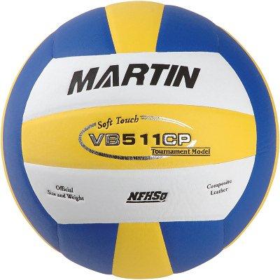 Martin Sports Volleyball Soft Touch Composite-Leder, offizielle Größe - NFHs genehmigt, Blau/Weiß/Gelb (Volleyball-martin)