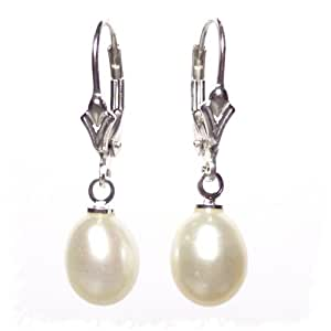 Large Freshwater Pearl drops on Sterling Silver lever back earrings with Gift Box.Made in England. Beautiful jewellery for very special people