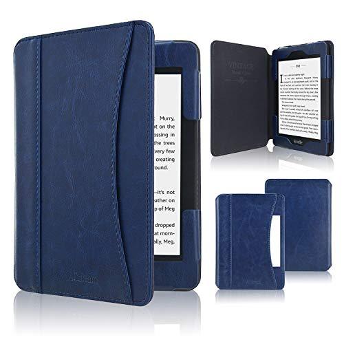 ACcolor Folio Hülle für Kindle Paperwhite (alle Generationen 2012-2018) - PU Leder Schutzhülle Tasche mit Auto Sleep/Wake Funktion für Amazon Kindle Paperwhite eReader, Dunkelblau