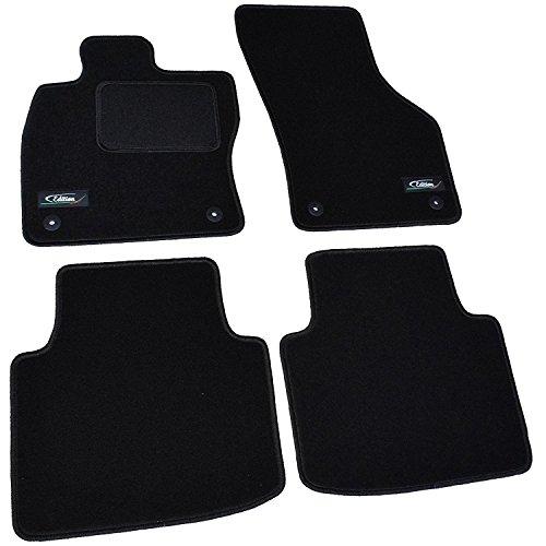 AME Automatten-Experts 4320BKL Auto-Fußmatten mit Logo und Kettelung (Schwarz) inklusiver Befestigungen (Rund) 4-teilig