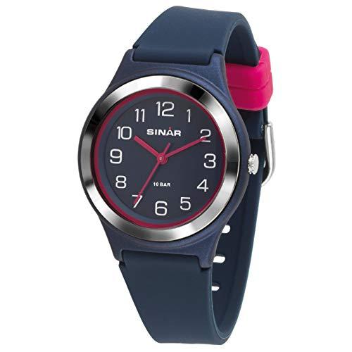 SINAR Mädchen-Armbanduhr Sportuhr Fitness analog Quarz 10 Bar wasserdicht blau pink XB-48-2