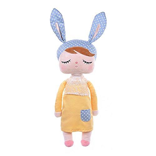 Wisamic Weichpuppe Mädchen Puppe Angela mit Hase Ohren gelb, 13 Zoll (Hand Puppen Für Kleinkinder)