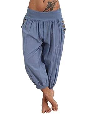 Mujer Pantalones Harem Verano Elegantes Moda Casual Pantalon Pirata Mujer Color Sólido Cintura Alta con Bolsillos...