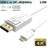 USB-C auf DisplayPort Kabel,(1,8M,4K@60Hz), USB Typ-C zu DP Adapter (Thunderbolt 3) für MacBook/iPad Pro 2018,iMac,Surface Book 2,Galaxy S9/S8+/Note 8,Chromebook Pixel,Dell XPS 13/15 zu TV/Monitor