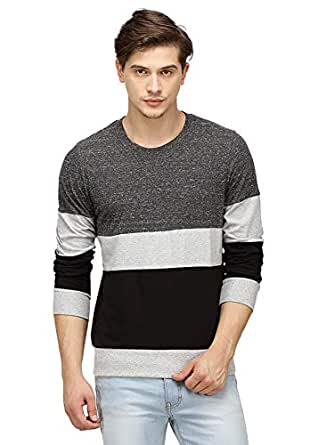 Campus Sutra Men's Plain Regular Fit T-Shirt (SS16PRM_RNFSTRI_M_PLN_CHGRBL_Charcoal::Grey::Black_Small)