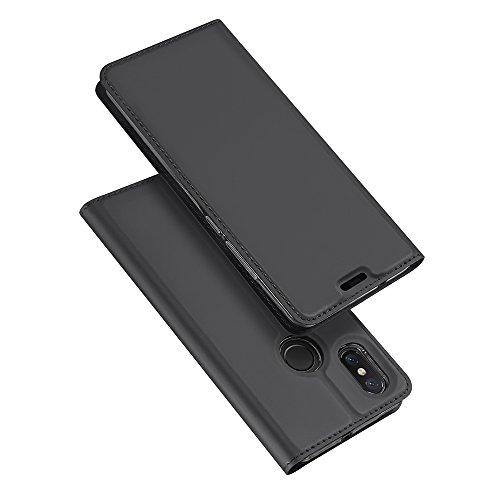 Estuyoya Xiaomi Mi8 Funda con Tapa, Funda Tipo Libro con [Cierre Magnético] Función [Soporte] Mi 8 [Billetera para Tarjetas] Bumper TPU Transparente Antigolpes Cierre Imán - Gris Oscuro