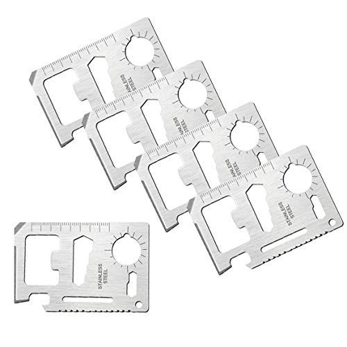 OFKPO 5 Stücke Edelstahl Kreditkarte Tool,11 in 1 Mehrzweck Überleben Kreditkarte Werkzeug