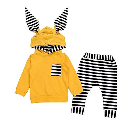 Sonnena 2PCS Neugeborenen Kleinkind Baby Mädchen Jungen Weich Baumwolle Hoodie Sweatshirt Langarm 3D Gestreift Häschenohr Tops + Hose Outfits Set Kleidung Herbst Kleider Set