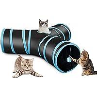 Fithalt Katzentunnel Rascheltunnel Cat Tunnel Katzenspielzeug Hundenspielzeug Faltbar Stabil 3 Wege Spieltunnel mit Ball für Katzen, Welpen, Hasen und Kleintiere
