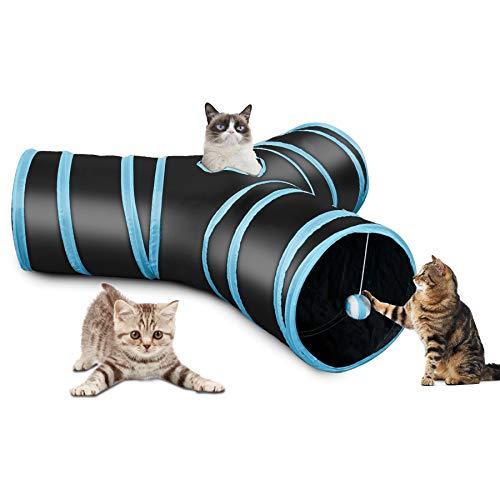 CO-Z Katzentunnel Rascheltunnel Katzenspielzeug Hundenspielzeug Cat Tunnel Faltbar Stabil 3 Wege Spieltunnel mit Ball für Katzen, Welpen, Hasen und Kleintiere