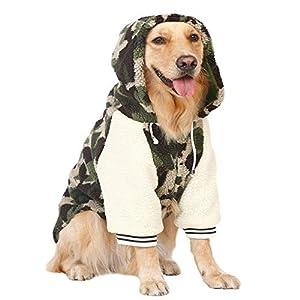 YunNasi Chien Vêtements d'hiver Manteau Grande Taille Pull d'hiver à Capuche Chaude pour Hoodies Jacket Accessoires pour Chien Manteaux Camouflage 9-37.5kg