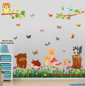 New Huge Woodland Animals Butterfly Grass Wall Stickers Baby Nursery Kids Decal Art by Prathai