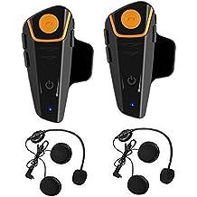 Intercomunicador moto Auriculares bluetooth 800M-1000M. 2* interfono moto - casco de moto inalambrico. reduccion ruido, impermeable. Paquete de 2 intercomunicadores, perfecto por moto, esquí