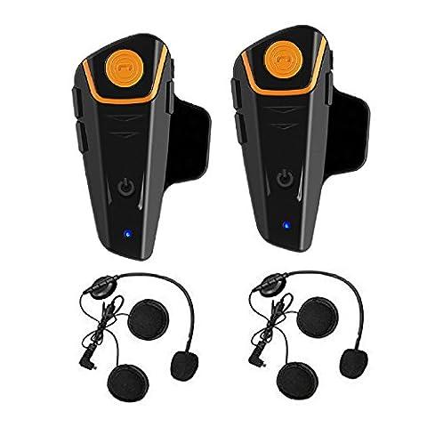 Casque de moto BT-S2 Communication R¨¦sistant ¨¤ l'eau Bluetooth Moto Interphone Interphone Casque pour 2 ou 3 coureurs et 2,5 mm Audio pour Walkie Talkie Lecteur MP3 GPS Mains libres Radio FM (2 Unit¨¦s)