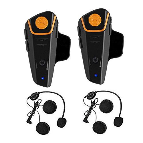 Gegensprechanlage, Motorradhelm Kommunikation Bluetooth Freisprechanlage, Intercom mit 1000m Reichweite, Verbindung mit Handy, Navi ideal für Motorrad, Motorschlitten, Ski- und Radfahren (2er Set)