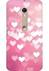 AMEZ designer printed 3d premium high quality back case cover for Motorola moto X style (pink hearts)