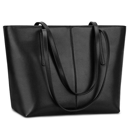 S-ZONE Morbida Genuine Leather Tote della maniglia di spalla delle donne del sacchetto di Fit 14 in computer portatile Nero Opaco