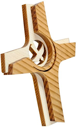 Kaltner Präsente Geschenkidee - Wandkreuz Echtes Holz Kreuz Fichte Kruzifix mit Taube für die Wand 16 cm modern gefertigt im Grödner Tal Südtirol