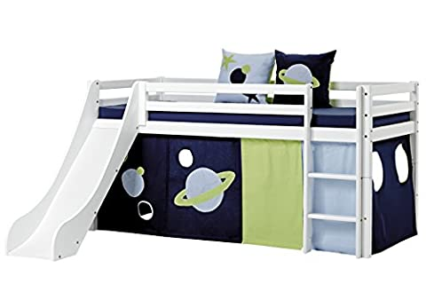 Hoppekids Basic-A5-1 Space Textile und Matratze Halbhohes Bett mit Rutsche, Spiel-/Junior-/Kinder-/Jugendbett, Kiefer massiv, Liegefläche 90 x 200 cm, Holz, weiß, 208 x 105 x 195