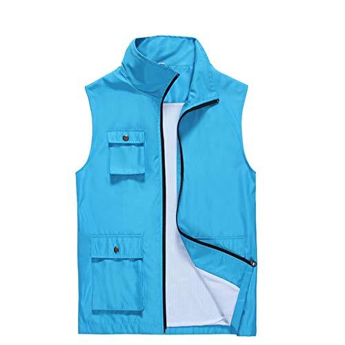 Anglerweste maßgeschneiderte Taschen von Foto-Weste Jacken Freiwillige Freiwillige Kleidung (Color : Blue, Size : M)