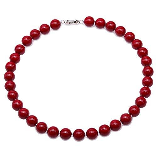 JYX Perlenkette Echte 10 mm Runde Rote Südsee Muschel Perlen Halskette für Damen 45 cm