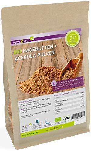 Bio Hagebuttenpulver + Acerola Pulver 500g - 100{bcbf6184f5301380bd2b53ccaa6a3077df22f4e02e548e291e20bf02813bcf57} Ökologischen Anbau - Hoher Gehalt an Vitamin C - Premium Qualität